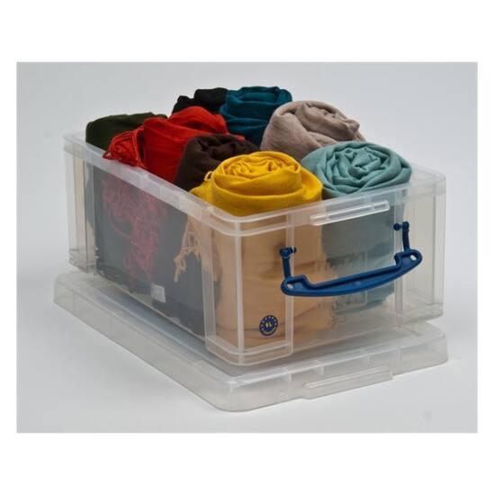 REALLY USEFUL Műanyag tárolódoboz, átlátszó, A4 méretű papírok tárolására, 9 liter, REALLY USEFUL